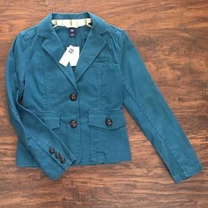 GAP teal blazer. Size 2, NWT.  leather buttons